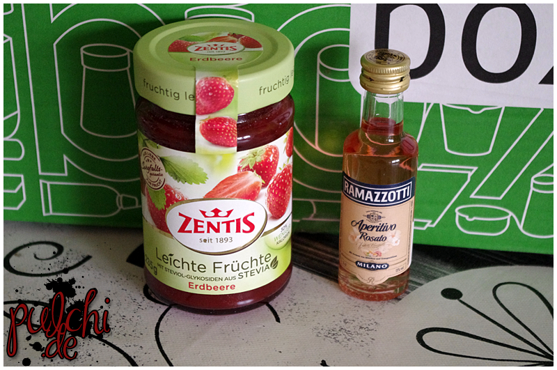 "Zentis Leichte Früchte ""Erdbeere""    Ramazzotti Aperitivo Rosato"