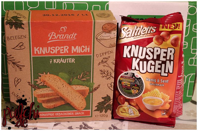 """Brandt Knusper mich """"7 Kräuter""""    Lorenz Snack-World Saltletts Knusperkugeln """"Honig & Senf"""""""