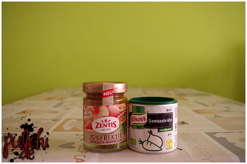 Zentis 75 % Frucht Pfirsich-Maracuja || Knorr Bio Gemüsebrühe