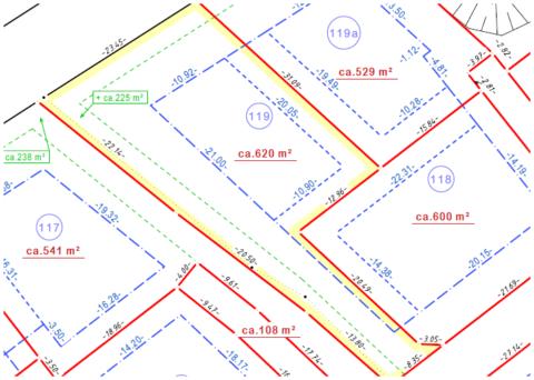 Bemaßter Grundstücksplan