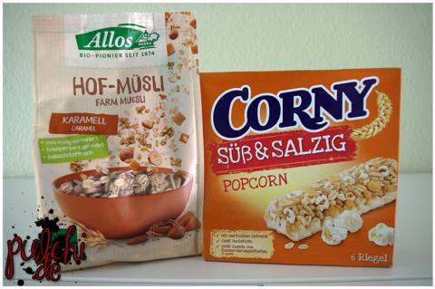 Allos Hof-Müsli Karamell || CORNY Süß & Salzig Popcorn