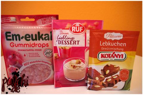 Em-eukal Gummidrops Granatapfel-Feige    Ruf Lieblingsdessert Popcorn Toffee    KOTÁNYI Lebkuchen Gewürzmischung