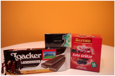 Loacker Cacao & Milk || 5 Gum Sweet Mint || MILFORD Rote Grütze