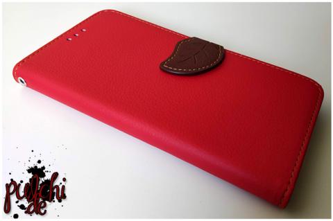 Blatt-Design TPU Booktype Hülle Rot