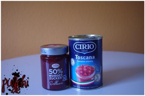 Zentis 50% weniger Zucker Erdbeere || CIRIO Toskana Tomaten stückig