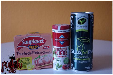 Saupiquet Rio Mare Thunfisch || Bad Reichenhaller Kräuterliebe Mediterran || Guampa Energy Pink Grapefruit