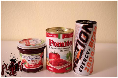 Landliebe 70% Frucht Erdbeere || Pomito Tomatenfruchtfleisch in Stücken || ACT!ON Energy BCAA