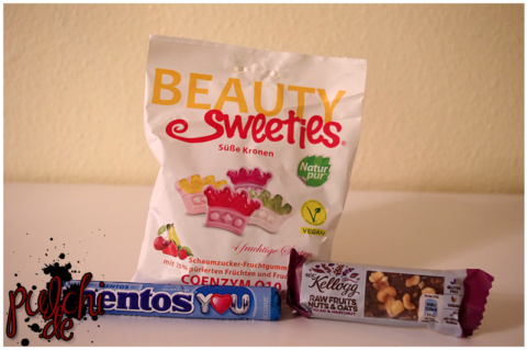 "BeautySweeties Süße Kronen || Mentos Komplimentos Mint || W.K. Kellogg® Raw Fruits Nuts & Oats Bar ""Cacao & Hazelnut"""