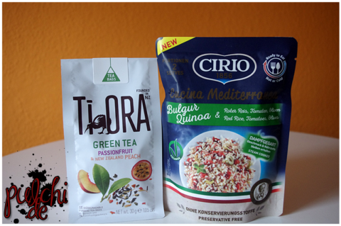 Ti Ora Green Tea Passion Fruit & New Zealand Peach || CIRIO Cucina Mediterranea Bulgur & Quinoa mit rotem Reis, Tomaten und Oliven