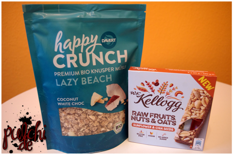 Davert Happy Crunch Coconut White Choc || W.K. Kellogg® Raw Fruit, Nuts & Oats Sunflower & Chia