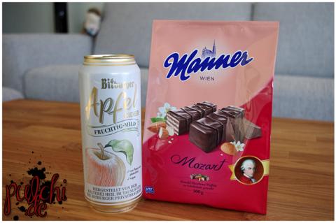 Bitburger Apfel Cider || Manner Mozart Waffeln