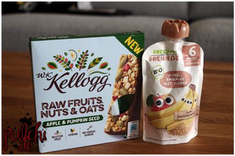 W.K. Kellogg® Raw Fruits, Nuts & Oats Apple & Pumpkin Seeds Bar || Freche Freunde Quetschie Apfel, Banane mit Hirse