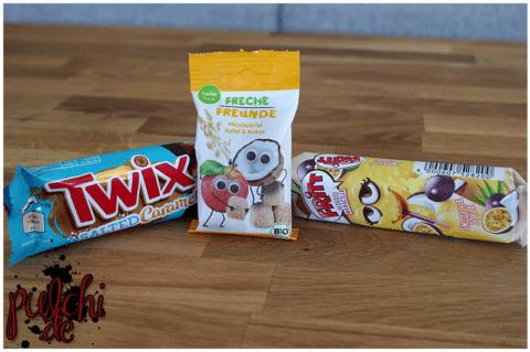 TWIX Salted Caramel || Freche Freunde Müsliwürfel Apfel/Kokos || FRITT Smoothie Kokos und Maracuja