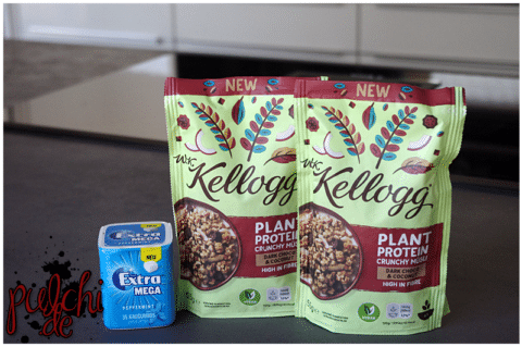 EXTRA® MEGA Peppermint || W.K. Kellogg ® Plant Protein Crunchy Müsli Dark Chocolate & Coconut