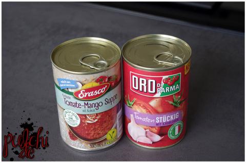 Erasco Karibische Tomate-Mango Suppe || ORO di Parma stückige Tomaten mit Knoblauch
