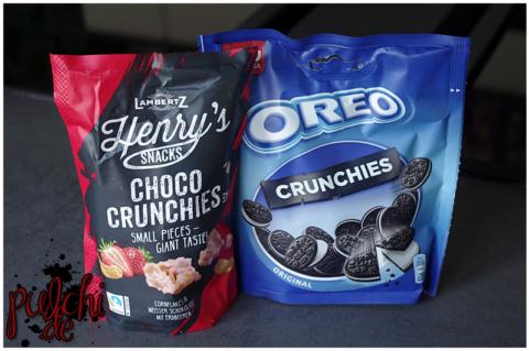LAMBERTZ Henry's Snacks Choco Crunchies Weiße Schokolade mit Erdbeere || Oreo Crunchies Original