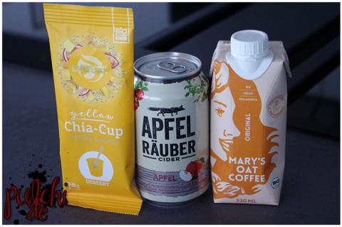Yellow Chia-Cup Sunny Mango || Heineken Apfel Räuber Cider || Mary's Oat Coffee