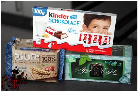 "kinder Schokolade || PjUR Dinkelcracker Thymian Chili || After Eight ""Gin Tonic Flavour & Mint"""
