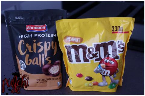 Ehrmann High Protein Crispy Balls Vollmilchschokolade || M&M'S Peanut