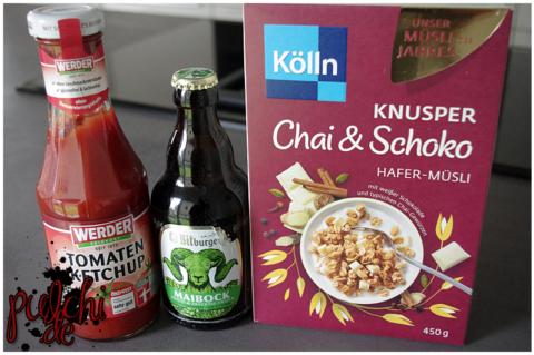 WERDER Tomatenketchup    Bitburger Maibock    Kölln Knusper Chai & Schoko Hafer