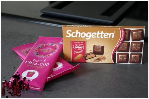Davert Pink Chia-Cup Deep Berry    Schogetten Sorte des Jahres Lotus Biscoff