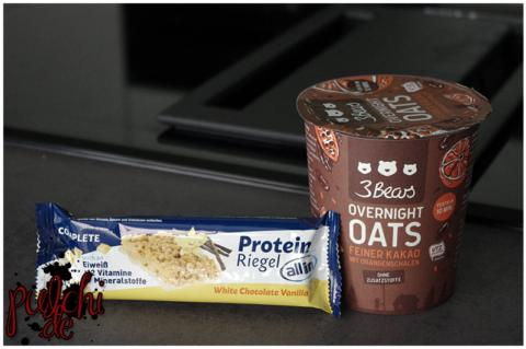 all in® COMPLETE Protein Riegel White Chocolate Vanilla || 3Bears Overnight Oats Cup Feiner Kakao mit Orangenschalen