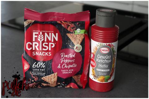 Finn Crisp Snacks Roasted Peppers & Chipotle    Hela Gewürz Ketchup Pfeffer leicht scharf