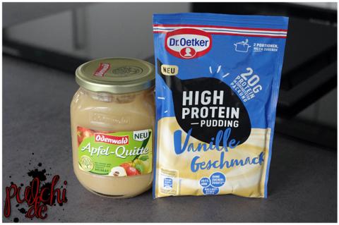 Odenwald Apfel-Quitte mit Honig    Dr. Oetker High Protein Pudding-Pulver Vanille-Geschmack