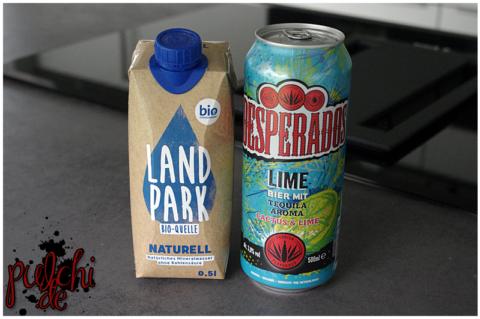 Landpark Bio-Quelle Naturell    Desperados Lime Beer flavoured with Tequila
