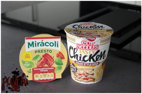 Mirácoli Presto Sonnengetrocknete Tomate    Nissin Cup Noodles Tasty Chicken