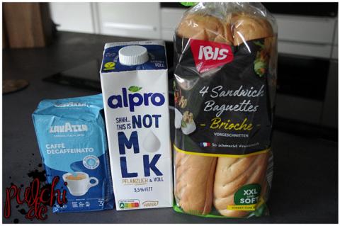 Lavazza Caffè Decaffeinato || Alpro Not M*LK Drink Pflanzlich & Voll 3,5% || IBIS Sandwich Baguette Brioche
